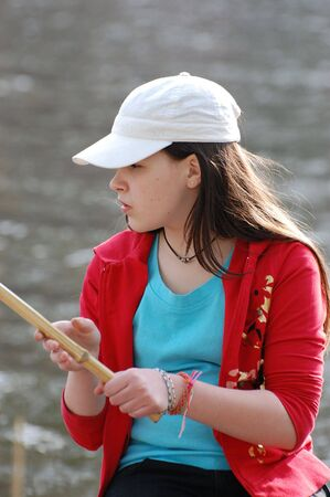 Girl fishing photo