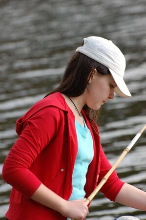 Girl fishing Stock Photo - 2946217