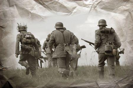 German soldiers. WW2 reenacting Stock Photo