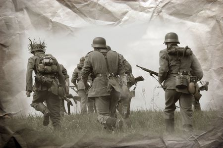 German soldiers. WW2 reenacting Stock Photo