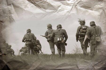 reenacting: German soldiers. WW2 reenacting Stock Photo
