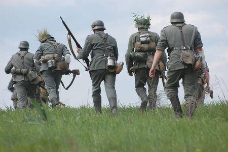 German soldiers. WW2 reenacting 写真素材