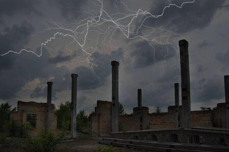 Lightning Strike.Industrial ruins photo