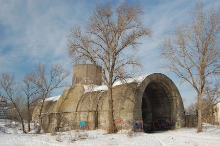 Old tunnel of Stalin. Part of Kiev defense line in WW2 time. today named Concrete submarine. Kiev,Ukraine (Malorussia) photo