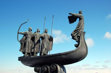 Famous monument to the mythical founders of Kiev on the Dnepr river