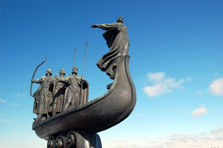 dnepr: Famous monument to the mythical founders of Kiev on the Dnepr river
