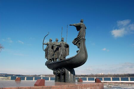founders: Famous monument to the mythical founders of Kiev on the Dnepr river