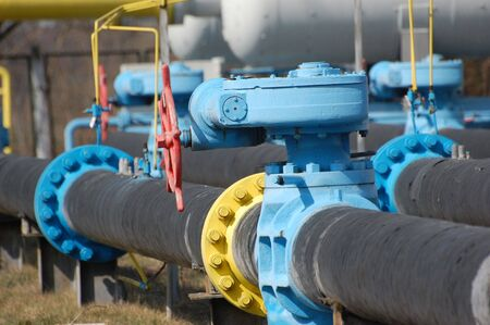 flange: Natural gas pump station. Kiev,Ukraine Stock Photo