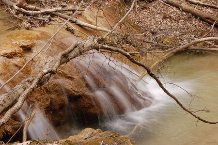 Landscape with waterfall. Crimea,Ukraine Stock Photo - 4674423