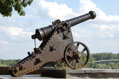 artillery shell: Russian cannon 18 century in historical Russian town Chernigov,Ukraine Stock Photo