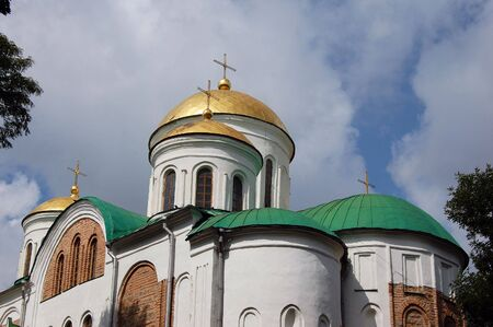 Old Russian orthodox cathedral in historical Russian town Chernigov,Ukraine  photo