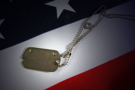 Dog tag on American Flag.Freedom is not free