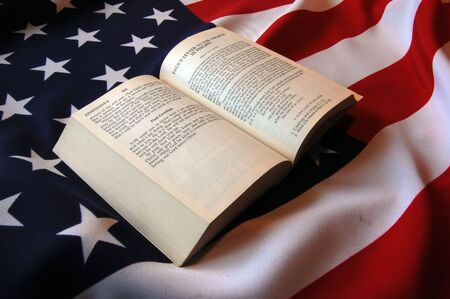 Bible, and American Flag  Stock Photo