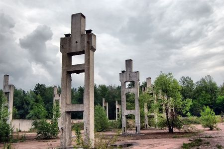 Lost city.Near Chernobyl area.Kiev region,Ukraine  photo