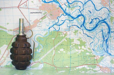 grenade and Chernobyl map Stock Photo - 7526740