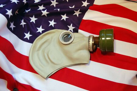 Gas mask and and USA flag Stock Photo - 7526758
