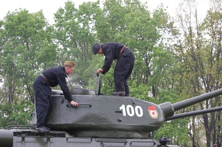 KIEV, UKRAINE - MAY 10 : Soviet tank T-34 during historical reenactment of 1945 WWII, May 10, 2010 in Kiev, Ukraine  Stock Photo - 7551283