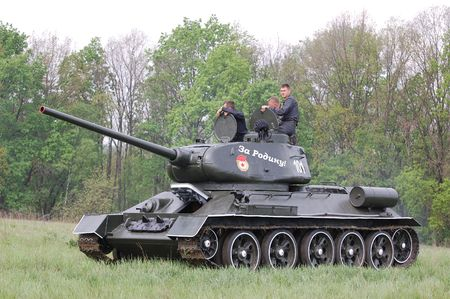 KIEV, UKRAINE - MAY 10 : Soviet tank T-34 during historical reenactment of 1945 WWII, May 10, 2010 in Kiev, Ukraine