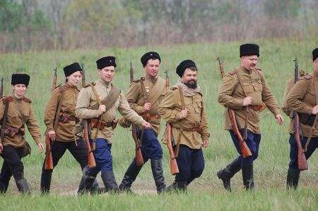 reenaction: KIEV, UKRAINE - MAY 10 : Members of Red Star history club wear historical Soviet uniform during historical reenactment of 1945 WWII, May 10, 2010 in Kiev, Ukraine  Editorial