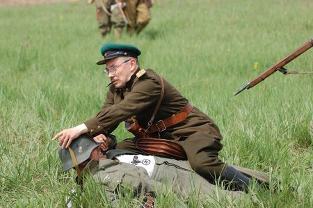 KIEV, UKRAINE - MAY 10 : Members of Red Star history club wear historical German&Soviet uniform during historical reenactment of 1945 WWII, May 10, 2010 in Kiev, Ukraine  Stock Photo - 7551316