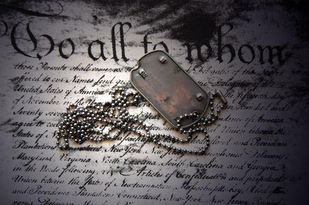 Freiheit ist nicht frei. Dog Tag zur amerikanischen Verfassung  Lizenzfreie Bilder