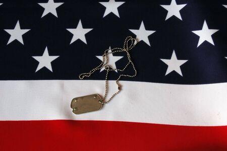 Dog Tag am amerikanischen Flag.Freedom ist nicht frei