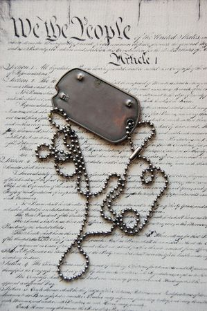 Freedom is not free . Dog tag on American Constitution  photo