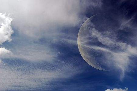 Sky with clouds and Moon  Stock Photo - 7697390