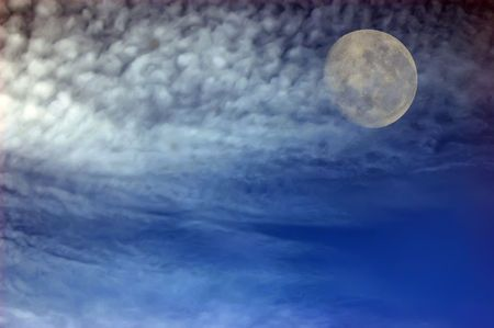 Sky with clouds and Moon  photo