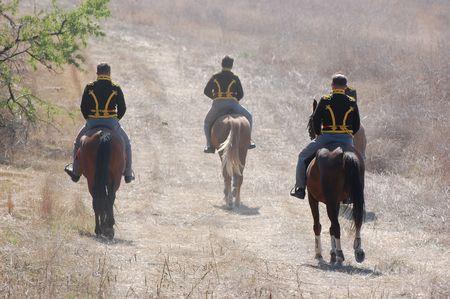 CRIMEA, UKRAINE - SEPTEMBER 26: Members of military history club ALMA wear Russian historical uniform during historical reenactment of Crimean  Stock Photo - 7665928