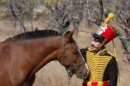 CRIMEA, UKRAINE - SEPTEMBER 26: Member of military history club ALMA wears Russian historical uniform during historical reenactment of Crimean War September 26, 2009 , Crimea, Ukraine  Stock Photo - 7665931