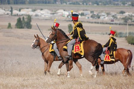 CRIMEA, UKRAINE - SEPTEMBER 26: Members of military history club ALMA wear Russian historical uniform during historical reenactment of Crimean War September 26, 2009 in Crimea, Ukraine  Banque d'images - 7665987