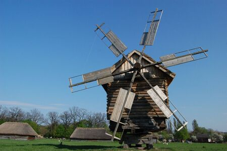 traditional windmill: Old windmill. Ukraine  Stock Photo
