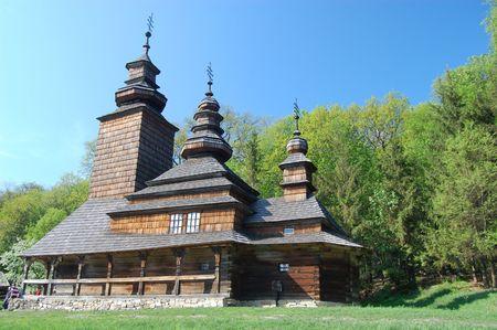 Wooden church in Kiev , Ukraine.Open-air museum Pirogovo  photo