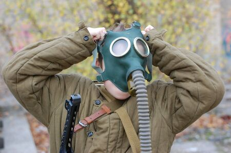 person in gas mask  photo