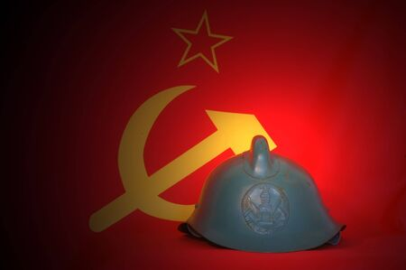 fireman helmet: Retro.Soviet fireman helmet (1950-1970) Stock Photo