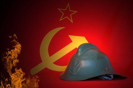 Retro.Soviet fireman helmet (1950-1970) photo