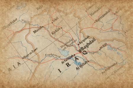 Iraq en el mapa  Foto de archivo