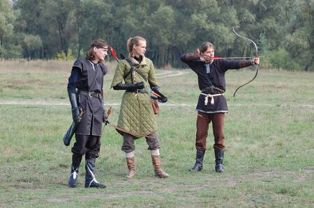 KIEV, UKRAINE - SEP 19: Participants Festivale of medieval costume wears historical costume Sep 19, 2010 in Kiev, Ukraine