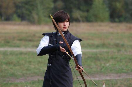 historical battle: KIEV, UKRAINE - SEP 19: Participant of Festivale of medieval costume wears historical costume September 19, 2010 in Kiev, Ukraine