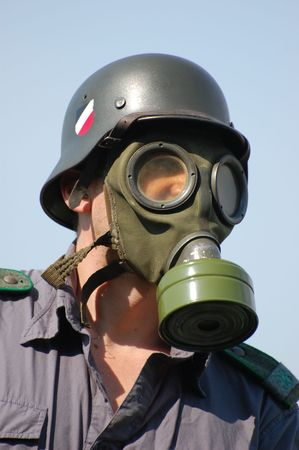 German soldier in gas mask. WW2 reenacting Stock Photo - 7810376