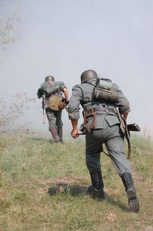 reenactment: German soldiers.WW2 historical reenactment Stock Photo