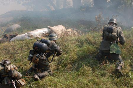 German soldiers.WW2 historical reenactment photo