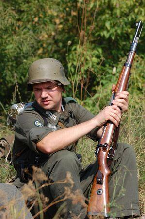 reenaction: German soldier.WW2 historical reenactment