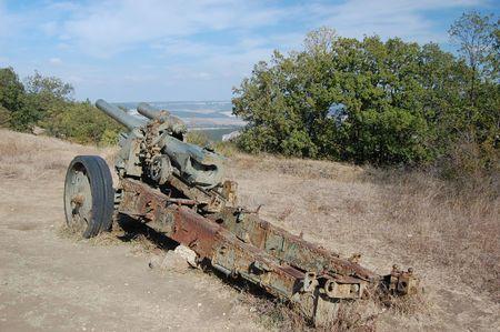 crimean: Remains of WW2.German cannon.Sevastopol,Crimea