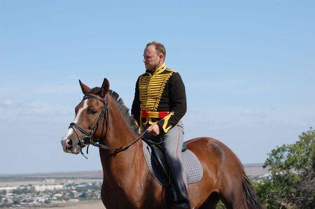 reenaction: Russian Hussar. Kievs Hussar Regiment. Crimean War time