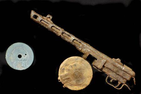 machine-gun: Militaire archeologie.De tweede wereld oorlog Sovjet machine geweer blijft