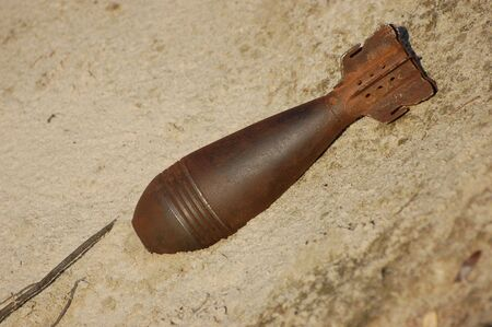Old rusted World War II mortar shell  82 mm  Stock Photo - 7811426