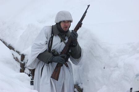 reenaction: German soldier of WW2.Winter