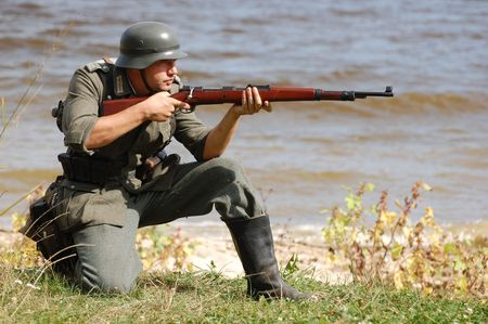 German soldier.WW2 historical reenactment Stock Photo - 7811699